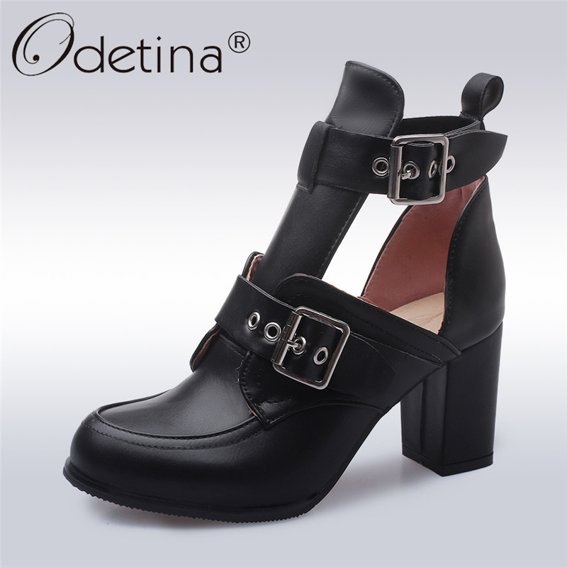 Odetina New Women Motorcycle Boots Buckle Strap Cut Out Ankle Boots Hollow Out Square Block High Heel Summer Boots Big Size 43Odetina New Women Motorcycle Boots Buckle Strap Cut Out Ankle Boots Hollow Out Square Block High Heel Summer Boots Big Size 43