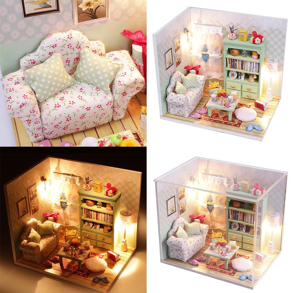 Kits DIY Wood Dollhouse Sofa Miniature With LED+Furniture+cover Furniture Gift