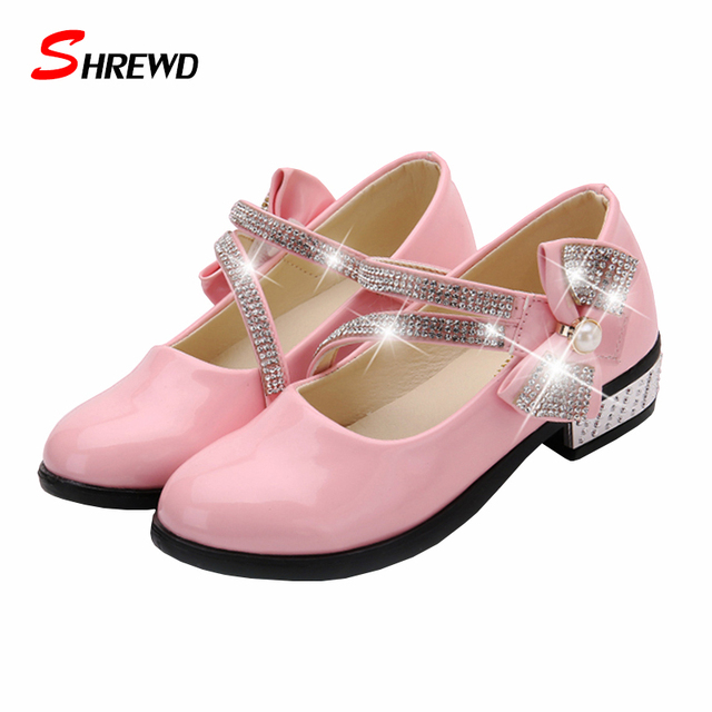 Shoes Kids Girls 2016 Autumn New Fashion Rhinestone Bow  Girls Shoes Leather Cute Kids Shoes Insole 15.5-22.1cm 9324W