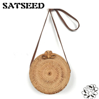 Vietnam Hand Woven Bag Round Rattan Straw Bags Bohemia Style Beach Circle Bag INS Popular