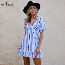 купить PinkyIsBlack 2018 Ruffle V neck stripe women dress High waist wrap short sleeve beach summer dress Casual short dress vestidos онлайн