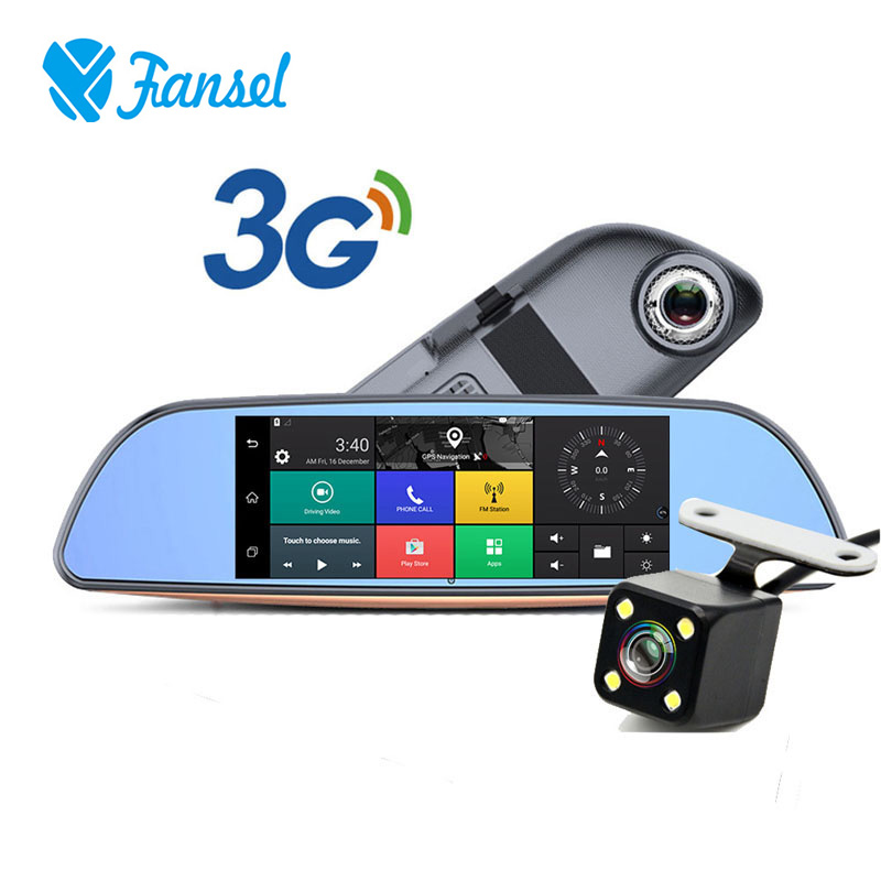 Fansel Car Dash Camera GPS Navigation Android 3G Wifi Car DVR 7 Inch Full HD 1080P Dual Lens Rear view Mirror Camera Wireless udricare 7 inch 3g wifi mirror gps android 5 0 dvr fhd 1080p bluetooth phone dual lens video recorder rear view camera mirror