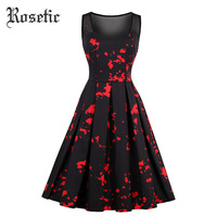 Rosetic Gothic Dress Black Print Women Summer Casual Dresses Goth Sleeveless A Line Vintage Young Party