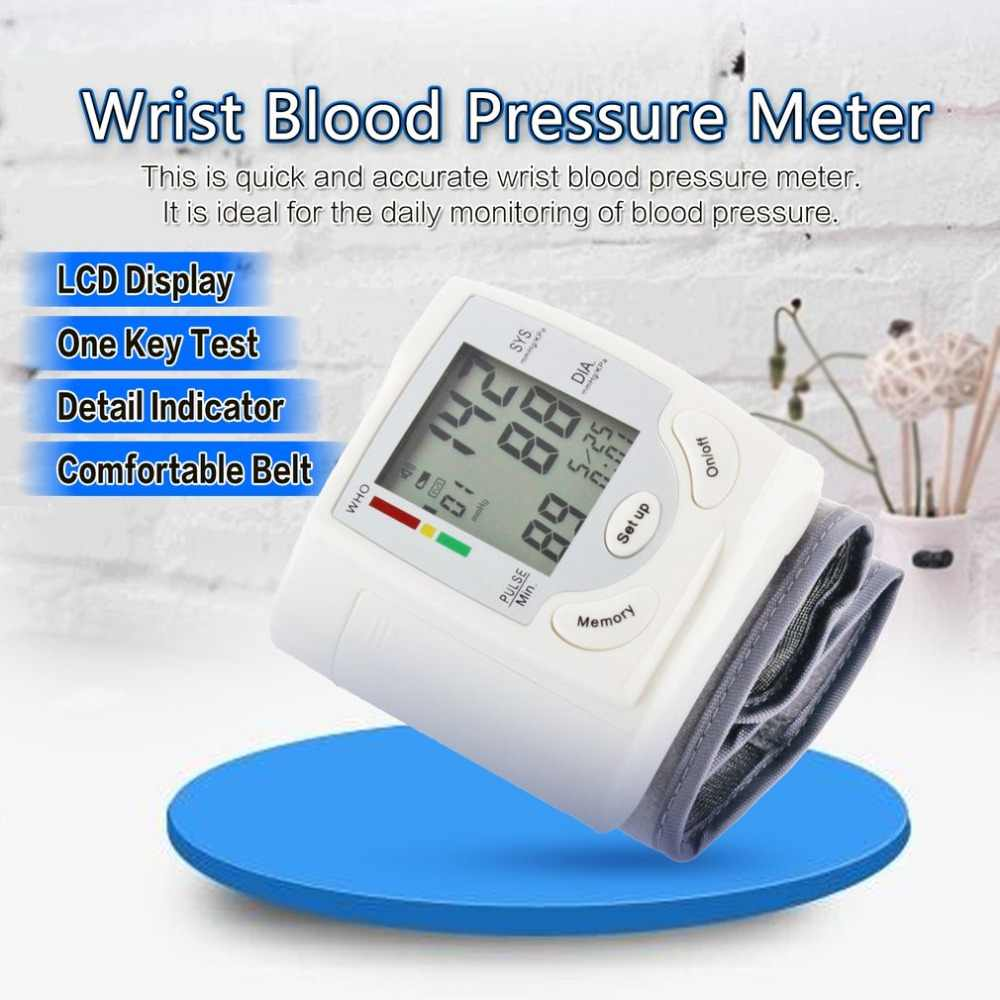 Auto LCD Digital Upper Arm Blood Pressure Meter Gauge Wrist BP Home Heart Beat Pulse Monitor with Cuff Health Care Manometer