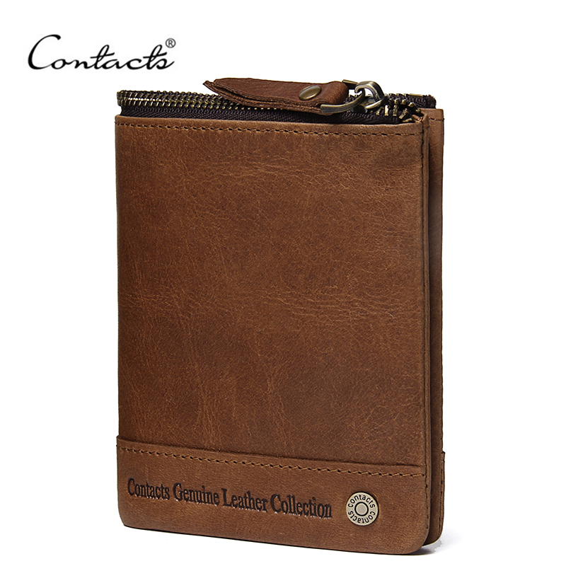 CONTACT'S Genuine Leather Wallet Men PORTFOLIO Men Male Portomonee Vallet With Coin Purse Pockets Slim Rfid Fashion Small Walet kavis genuine leather long wallet men coin purse male clutch walet portomonee rfid portfolio fashion money bag handy and perse
