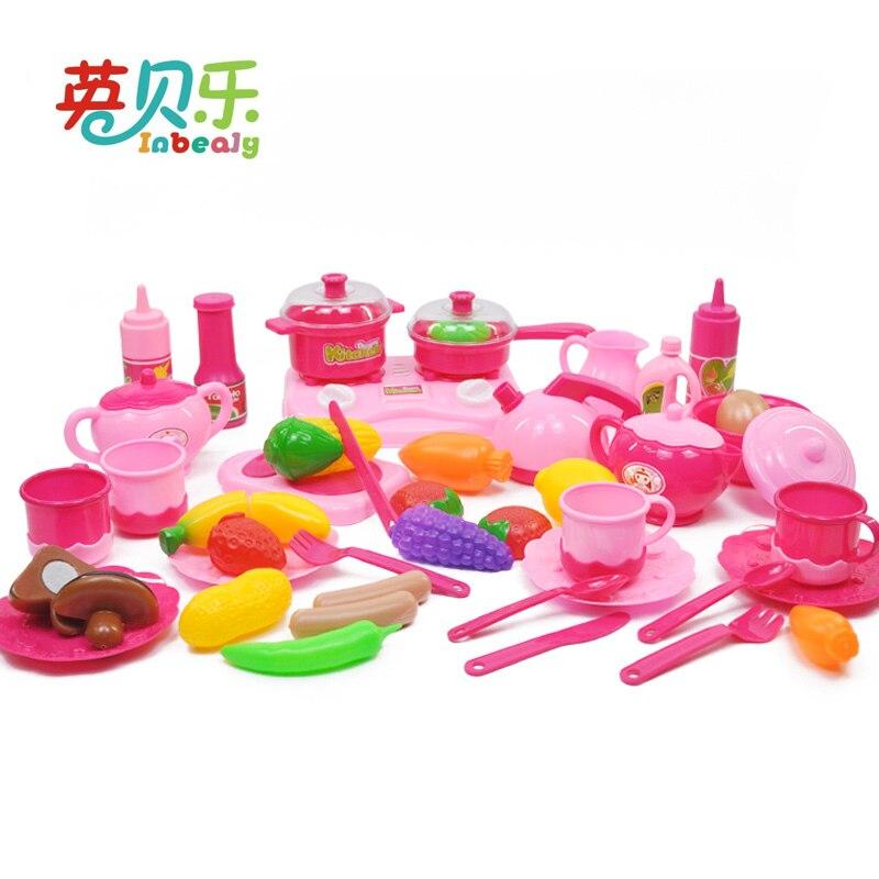 Детская Кухня комплект притворяться, играть с игрушечной посудой фрукты овощи Пластик дети готовить Еда eduacational игры как подарки на день рож... ...