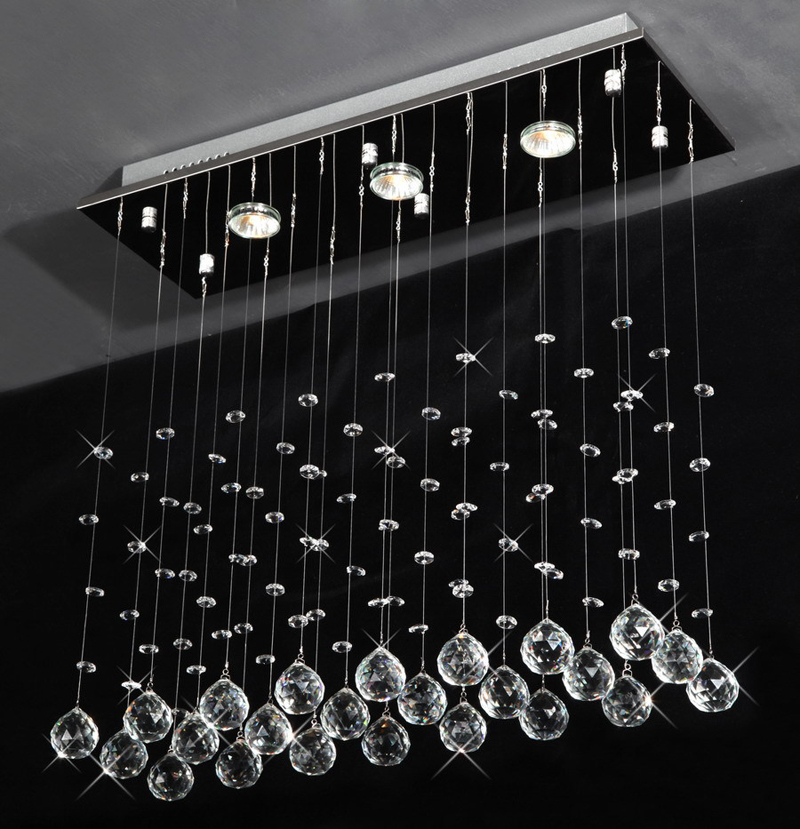 "3 LED Bulbs L24"" X W8"" X H23.6"" Crystal Chandelier Pendant Lamp RainDrop Hanging Suspension Light Lighting"