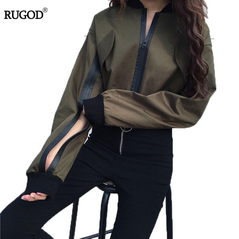 RUGOD Chic Casual Zipper Bomber Women Slim   Jacket   Streetwear Fashion O-Neck Zipper Short Coat Female New Ladies   Basic     Jackets