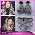 Ear To Ear Lace Frontal Closure With Bundles Peruvian Virgin Hair Body Wave 1B/Grey Human Hair Lace Frontals With Baby Hair