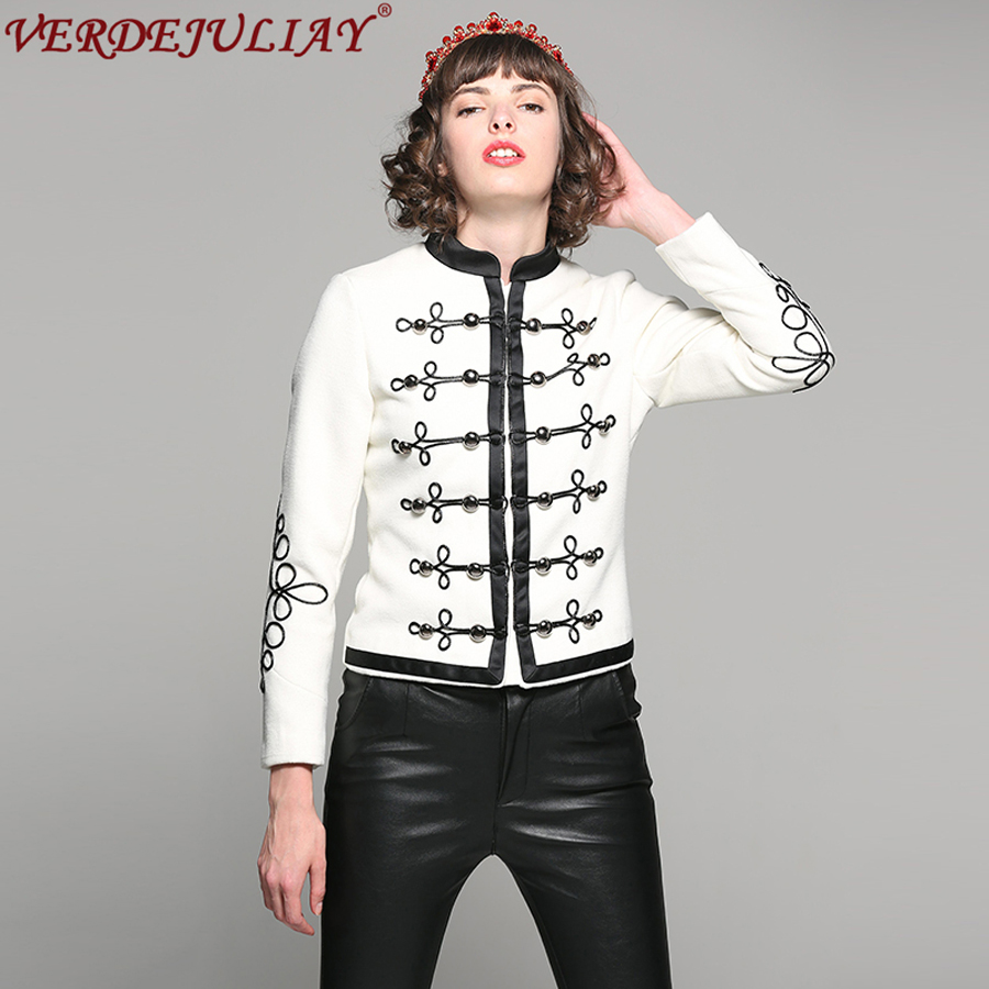Luxury Jackets New 2018 Female Spring Summer High Quality Long Sleeve 3D Metal Button Slim White Short Vintage European Coat