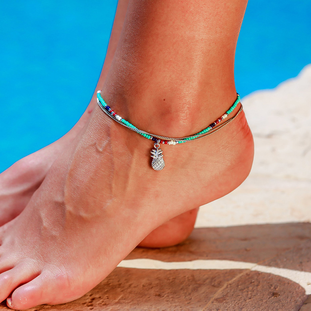 Bohemian Beach Holiday Anklet Blue Beaded Pineapple Double Metal Beaded Chain Jewelry Leg New Anklets on Foot Ankle for Women in Anklets from Jewelry Accessories