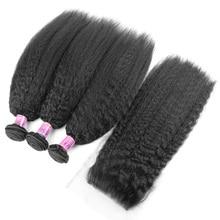 Kinky Straight Brazilian Virgin Hair With Closure,3 Bundles Human Hair With Closure,New Arrival YVONNE Hair Products
