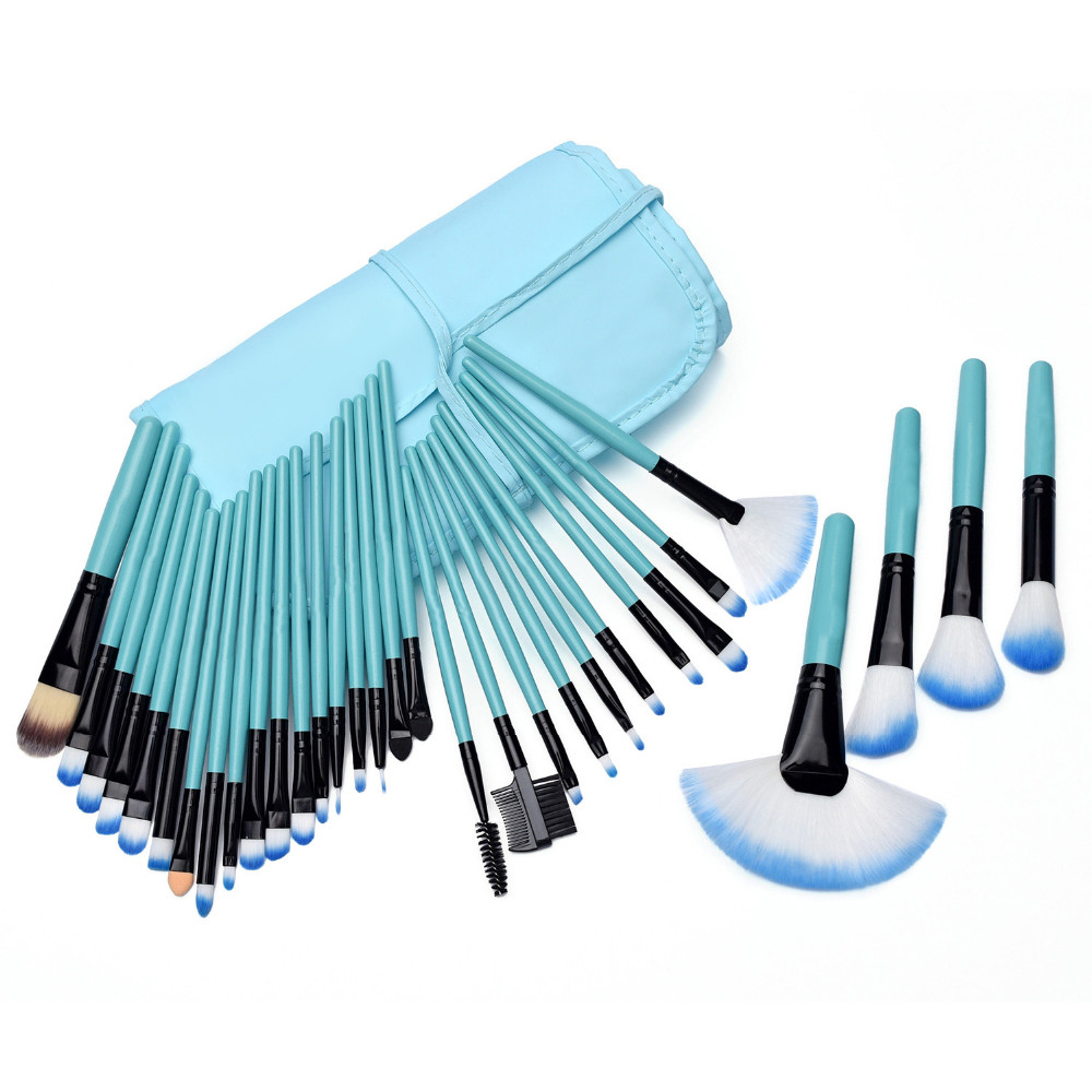Professional 32Pcs Makeup Brush Foundation Eye Shadows Powder Blue Make Up Brushes Tools Cosmetic Bag pincel maquiagem Brushes