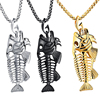 Charms Fish Bone & Fishing Hook Pendant Necklaces Shellhard Stainless Steel Hollow Fish Skeleton Bone Necklace Fashion Jewelry