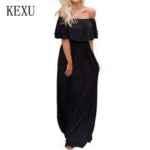 KEXU Women Sexy Off Shoulder Short Sleeve Maxi Floor-length Dress Elegant Ladies Casual Pleated Summer Bohomian Beach Wear