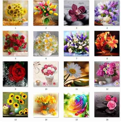 יהלומי DIY רקמת פרחים 5D יהלומי פסיפס ציור מודרני פרח צלב סטיץ ריינסטון ציור