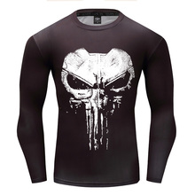 Compression Long Sleeve 3D Print T-shirt 2018 New Design Cosplay Fitness Body Building Male Crossfit Tops Punk Skull Skeleton