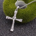 Trendy male titanium Fast Furious 5 Dominic Toretto/Vin Diesel Cross Crystal Pendant Silver Chain Men Long necklace