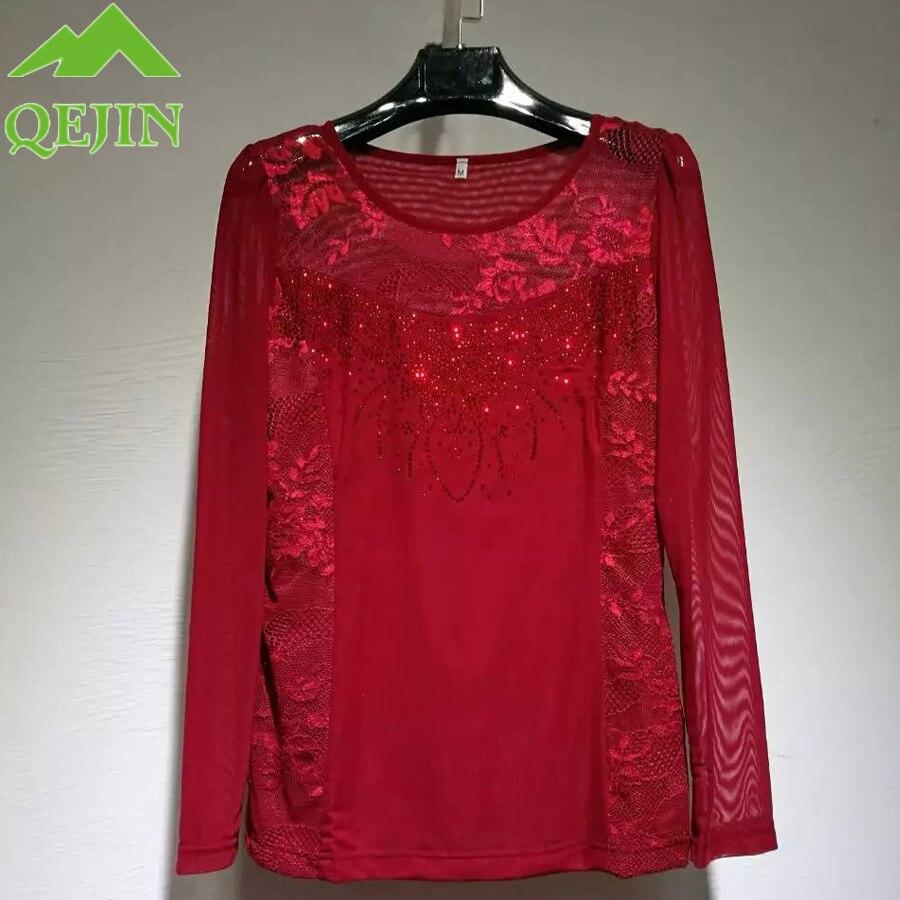 Dentelle chemise fleur broderie femmes T-shirt montre de sport hiver mode en mousseline de soie à manches longues sexy élégant haut pour femme grande taille 4XL