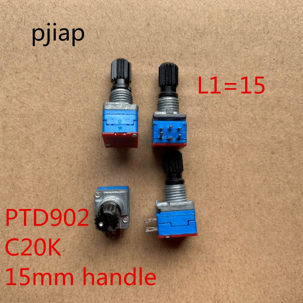 2PCS/LOT Imported American PTD902 precision potentiometer, double C20K insulated shaft, long 15MM volume potentiometer image