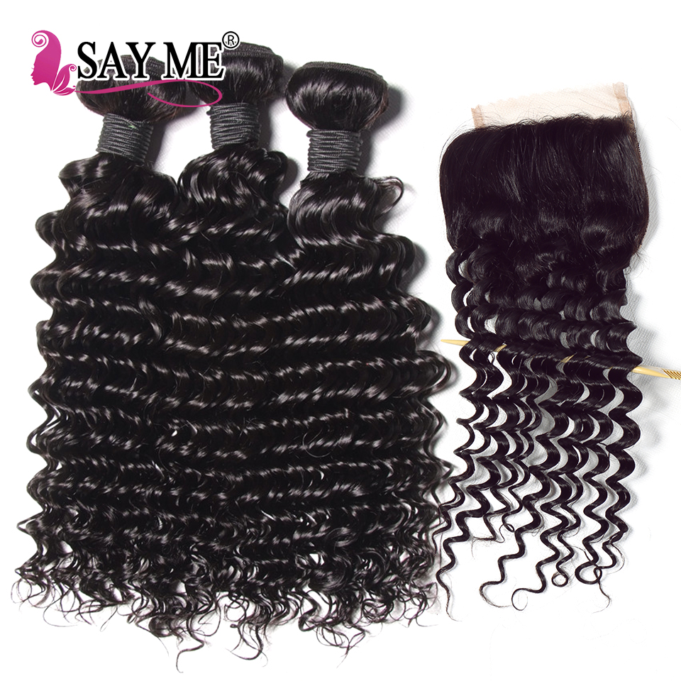 SAY ME Hair With Closure 3 PCS Malaysian Deep Wave Bundles with Closure Remy Human Hair Bundles With Closure 4*4 Free Part 1B#