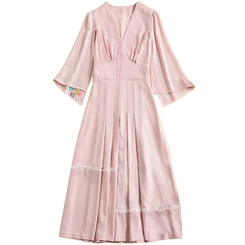 Red RoosaRosee 2019 Designer Runway Women Spring Summer New High end Women Fashion Embroiderey Split Sleeve