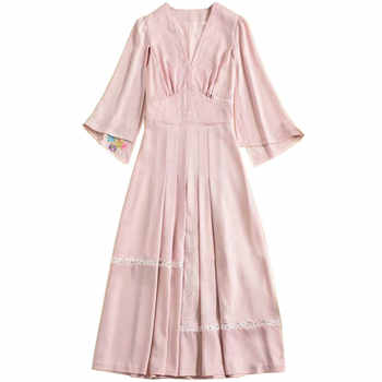 Red RoosaRosee 2019 Designer Runway Women Spring Summer New High-end Women Fashion Embroiderey Split Sleeve Party Dress Vestidos - DISCOUNT ITEM  23% OFF All Category