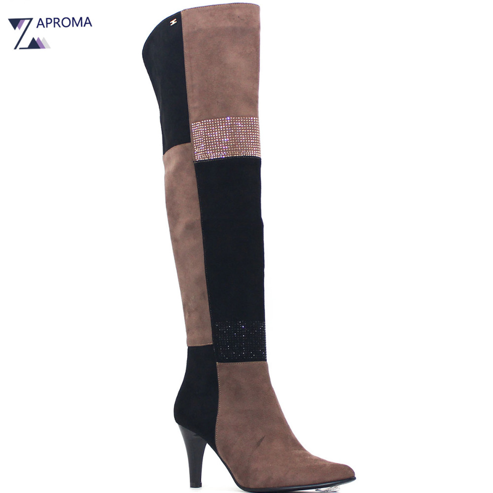 Plaid Sexy Over the Knee Women Thigh High Boots Winter Fashion Bling High Kitten Heel Shoes Black Suede Patchwork Stretch Boot cicime summer fashion solid rivets lace up knee high boot high heel women boots black casual woman boot high heel women boots