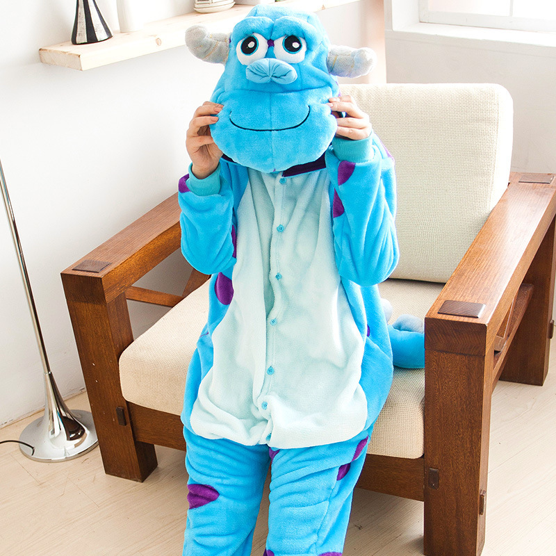 free shipping New Unisex Adult Sully Pajamas Cosplay Costume Animal Onesie Monsters Univ ...