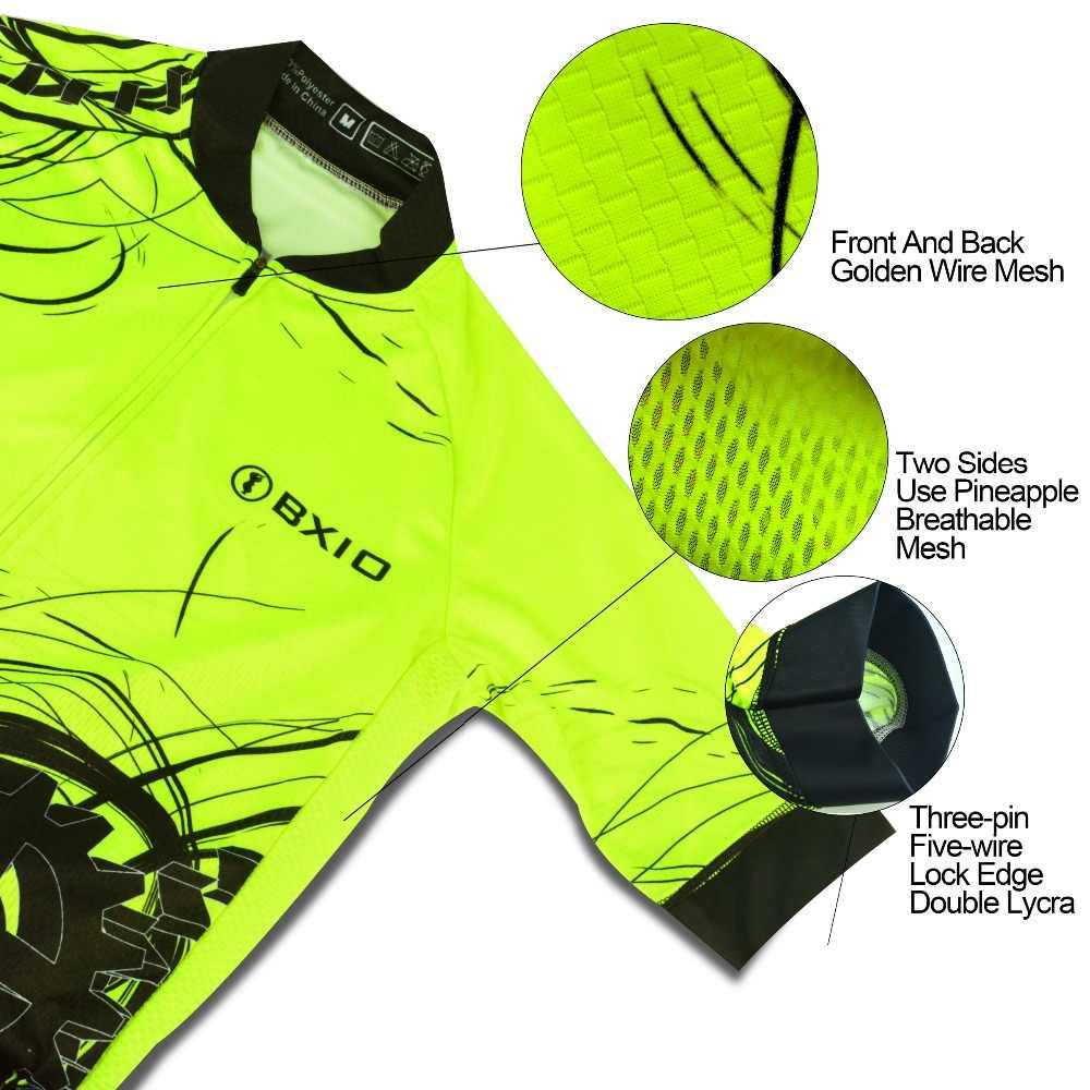 BXIO Erkek Bisiklet Forması Fluo Sarı Renk Bisiklet Formaları Yaz Bisiklet Giyim Kısa Kollu Spor Bib Şort 183