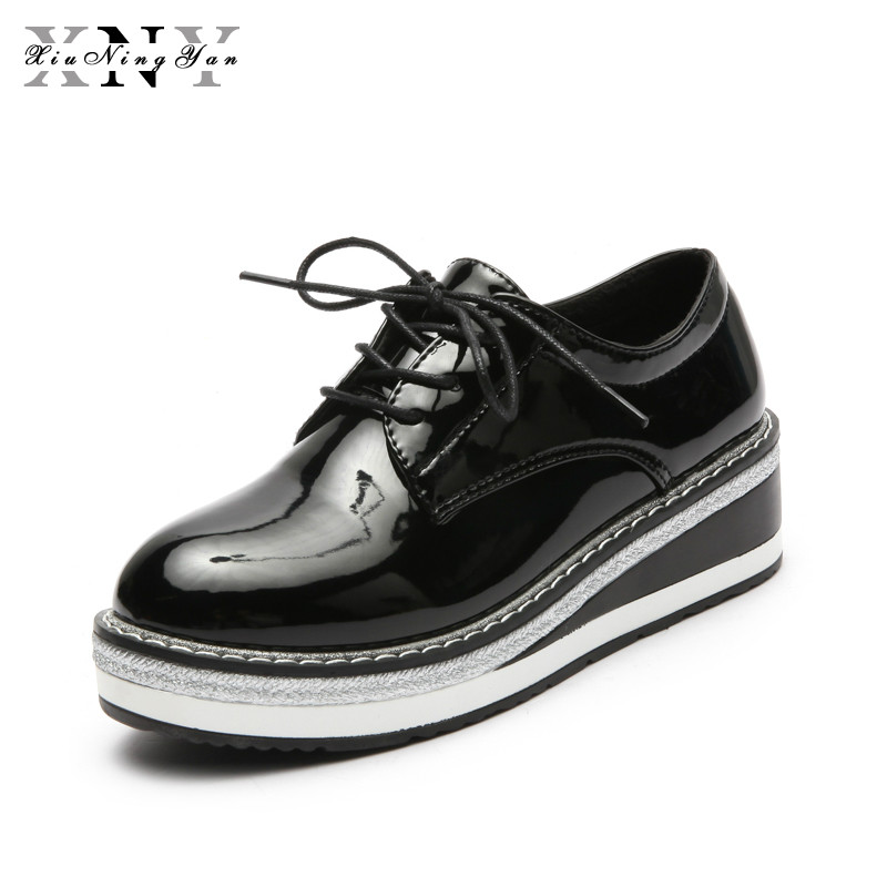 XiuNingYan New Spring Women Platform Shoes Woman Brogue Patent Leather Flats Lace Up Footwear Female Flat Oxford Shoes for Women padegao brand spring women pu platform shoes woman brogue patent leather flats lace up footwear female casual shoes for women