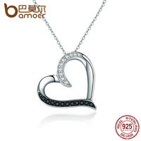 BAMOER 100 Authentic 925 Sterling Silver Classic Heart Clear CZ Pendant Necklaces Women Fashion Jewelry Engagement