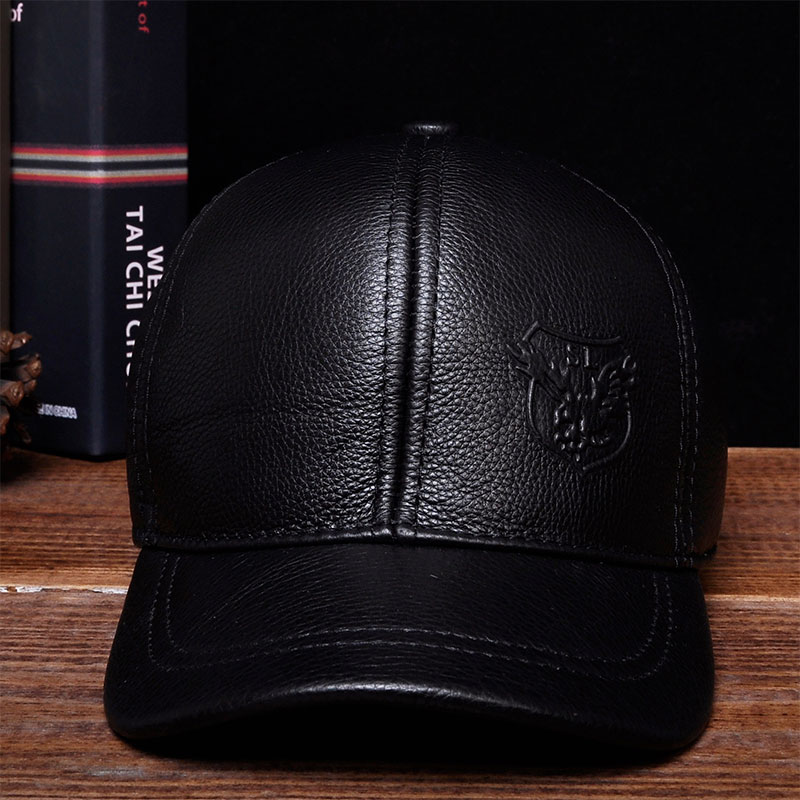 HL125 2018 Brand new warm real cow leather caps hats Spring free shipping genuine leather baseball cap aorice autumn winter men caps genuine leather baseball cap brand new men s real cow skin leather hats warm hat 4 colors hl131