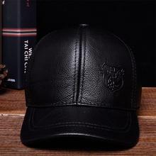 HL125 2018 nuevo caliente real vaca cuero CAPS sombreros primavera envío  libre gorra de béisbol de cuero genuino 55bcfbb879b