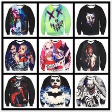 2017 new cartoon geek bats sky clown girl printing men's foreign trade fashion long-sleeved sweater