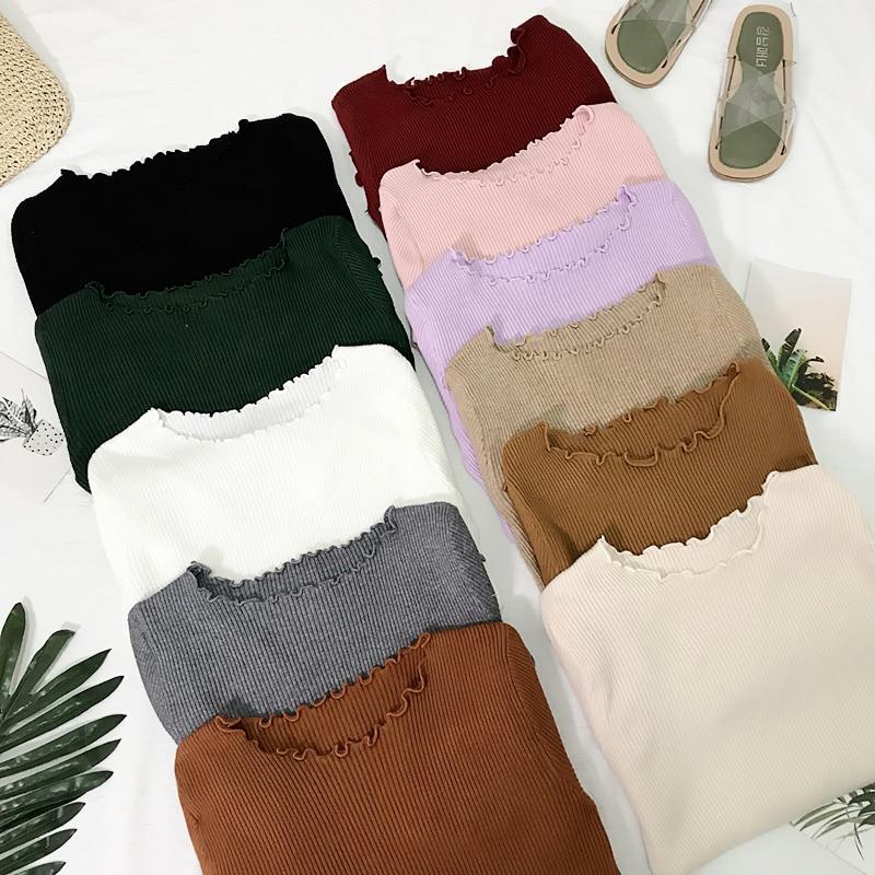 Frill col rond automne chandail tricoté femmes chandails 2018 Hiver hauts pour femmes Pull Pull Pull Femme Hiver Dames Truien