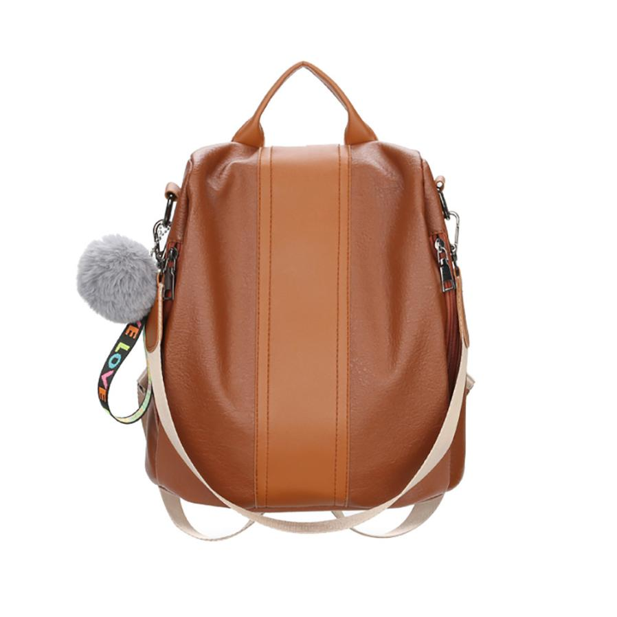 New PU Leather Backpack Female Plush Ball Zipper Shoulder Bags Travel Rucksack School Bags for Women 2018 Mochila Feminina