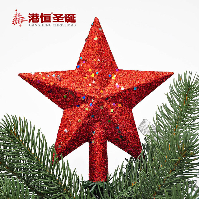 14cm Chrismtas Tree Topstar Pentacle Golden Sticky Powder Red Star Christmas Ornaments Decor For