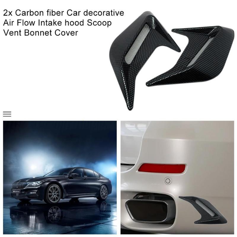 2x Car Universal Car Vents Decorative Air Flow Intake Hood Scoops Black Air Flow Vent Hood