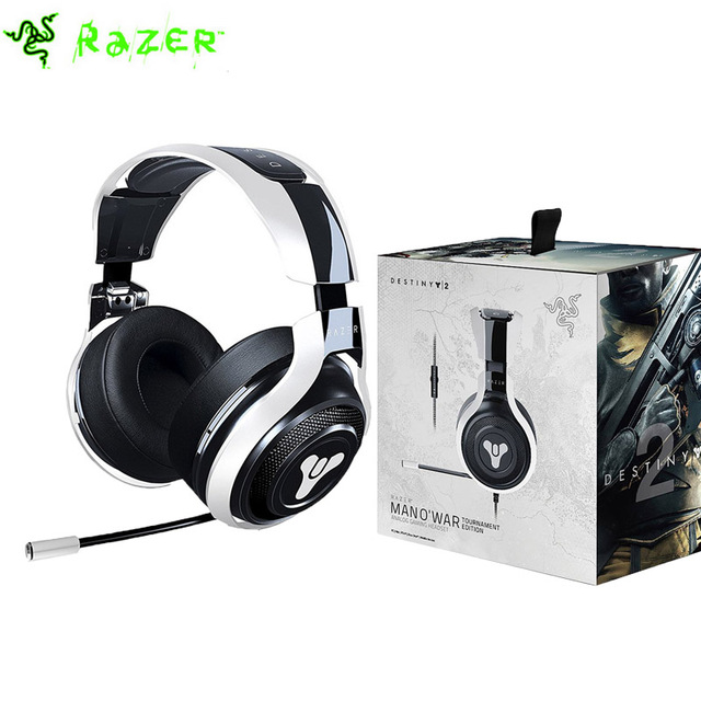5816cf4bfaf Razer Man O'War Tournament Edition Destiny 2 Edition Gaming Headset with  Mic In-line Controls Noise Isolating Analog Black+White