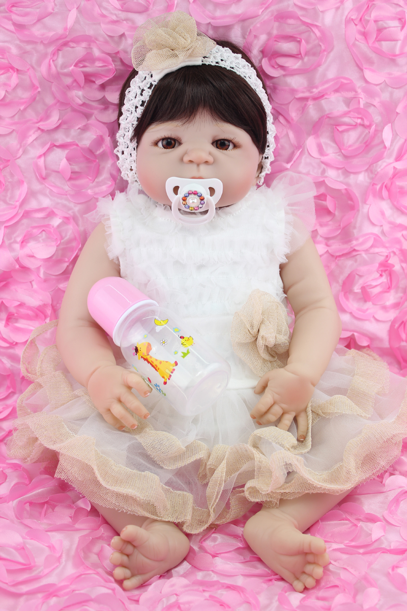 Full Silicone Body Reborn Girl Baby Doll Toy 55cm Cute Princess Newborn Babies Doll Lifelike birthday Gift Play House Bathe Toy leg avenue чулки матовые со шнуровкой