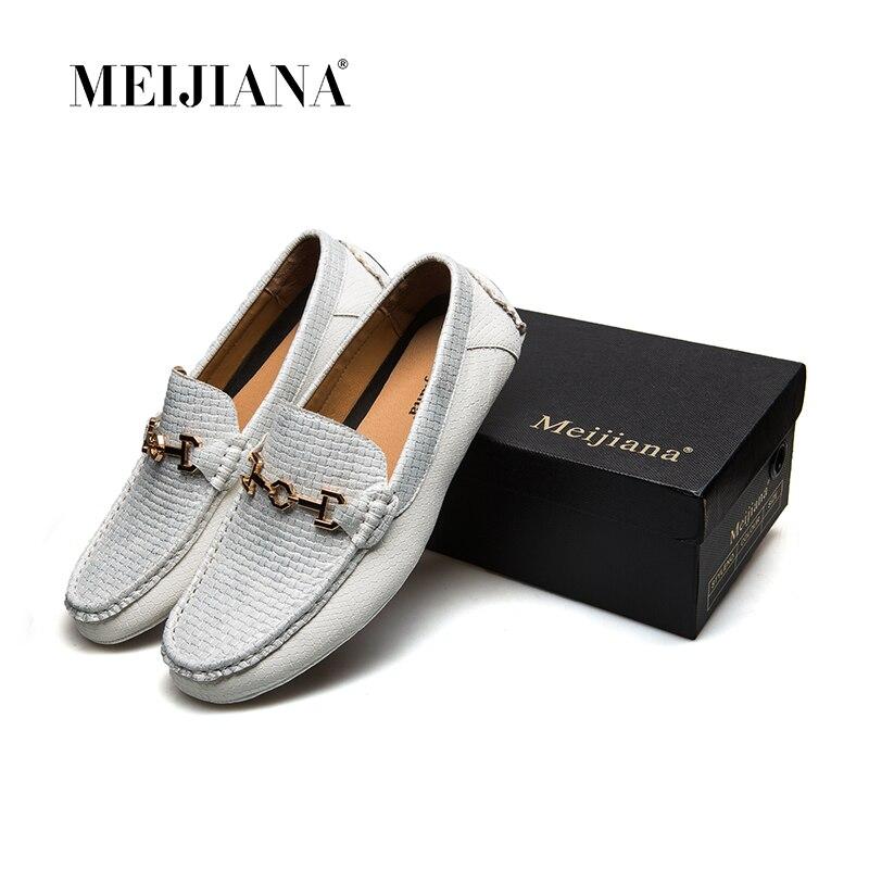 nouveau cuir mocassins blanc meijiana 2018 chaussures marque de hommes noir luxe en d 39 t bateau. Black Bedroom Furniture Sets. Home Design Ideas