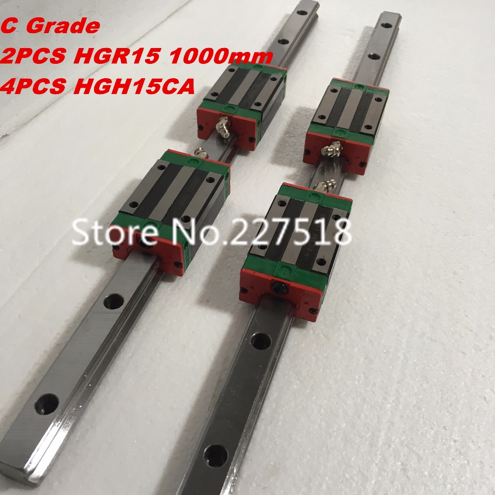 15mm Type 2pcs HGR15 Linear Guide Rail L1000mm rail + 4pcs carriage Block HGH15CA blocks for cnc router