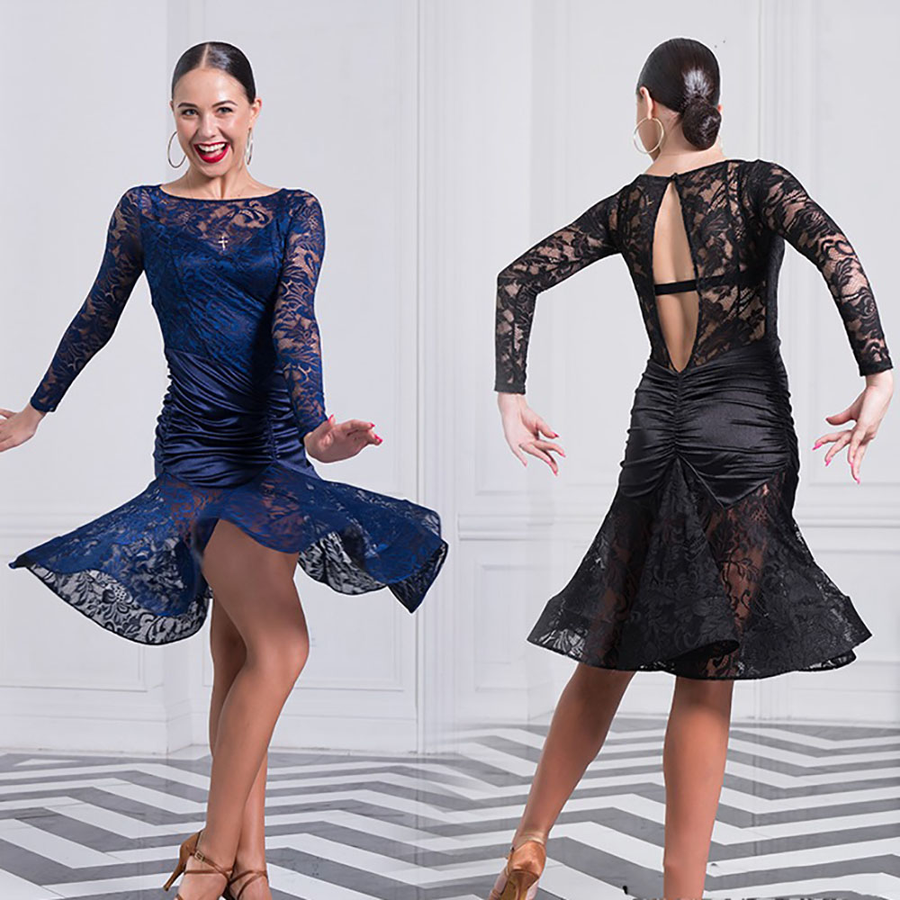 Top Quality Latin Dancing Dresses For Ladies Black Red Lace Dancing Skirts Sexy Female Women Square Stage Modern Garments B049