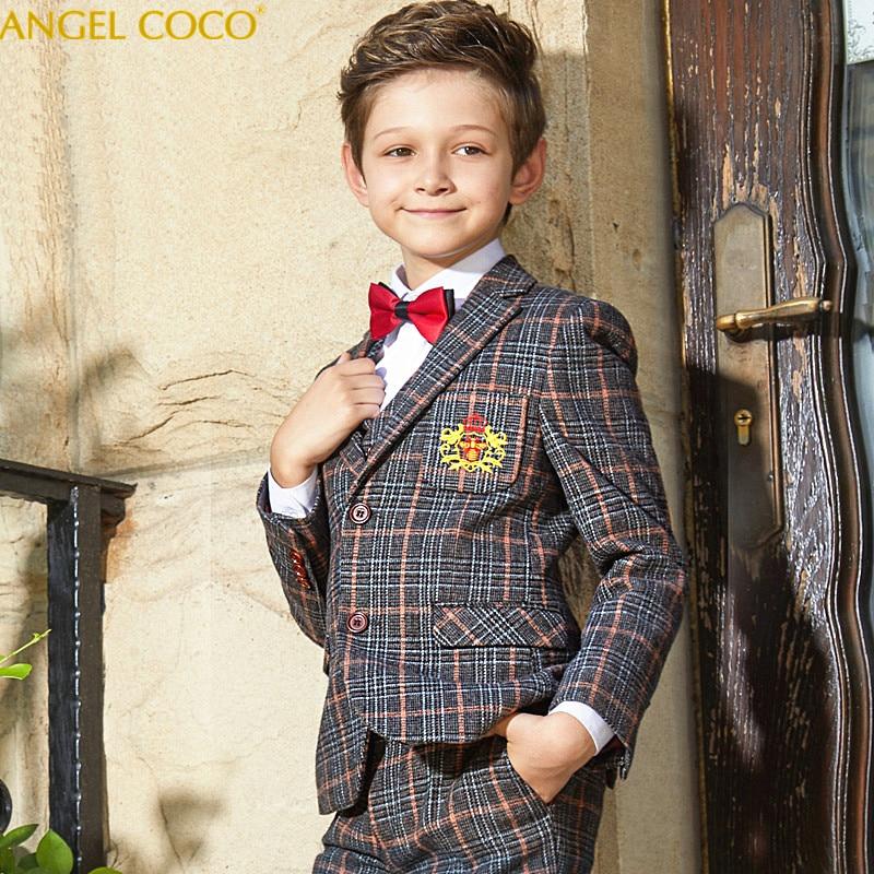 Элегантное детское вечернее платье для мальчиков в британском стиле, клетчатые костюмы для мальчиков на свадьбу, детские костюмы на выпуск