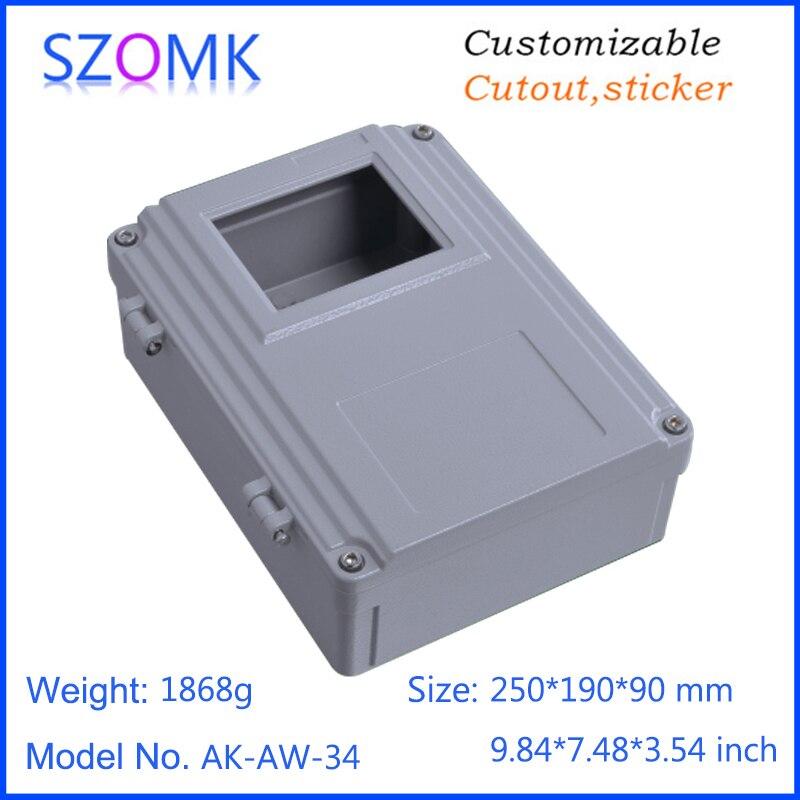 1 pièce, 250*190*90mm szomk couvercle articulé moulé sous pression étanche en aluminium boîtier amplificateur boîtier en aluminium boîtier électronique