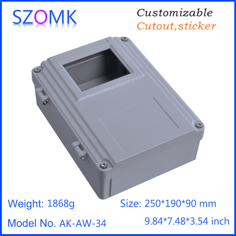1 piece, 250*190*90mm szomk hinged cover die cast waterproof aluminum amplifier housing aluminum box electronics enclosure 1 piece 250 190 92mm hot selling die casting aluminum electronic enclosure control housing case waterproof aluminum enclosure