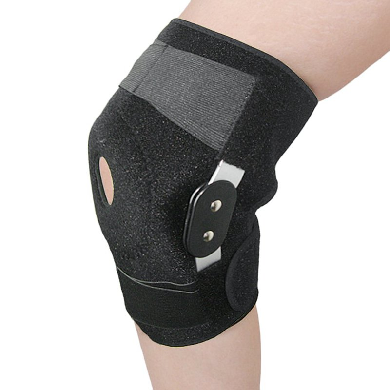 Professional Sports Safety Knee Support Brace Stabilizer with Inner Flexible Hinge Knee Pad Guard Breathable Protector Strap P0