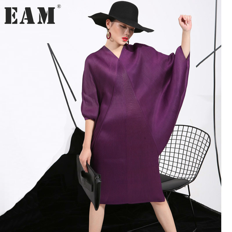 [EAM] 2018 Autumn Trendy New Crimp Bat Sleeve Design Big Size Loose Large Size Solid Color Dress Women Fashion FU11191