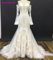 CloverBridal High Quality 2017 Popular Mermaid 3D Lace Full Pagoda Sleeves Ivory Cream Wedding Dresses Latest